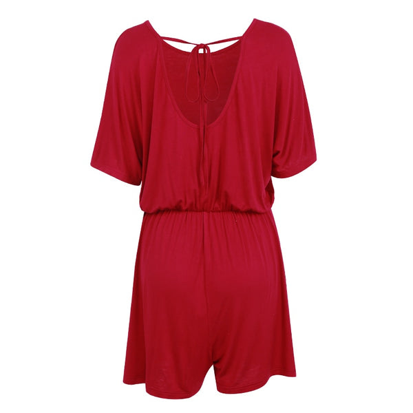 Women Summer Shorts Short Sleeve Backless Casual Romper Jumpsuit