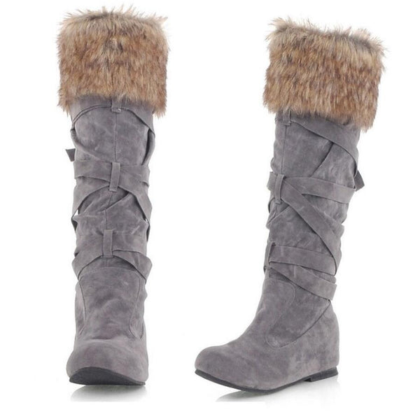 Women's Faux Suede Mid Calf Flat Warm Comfortable Thigh High Lace- Up Fur Boots