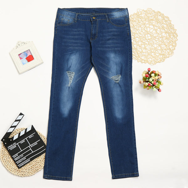 High Waist Skinny Plus Size Denim Pencil Jeans