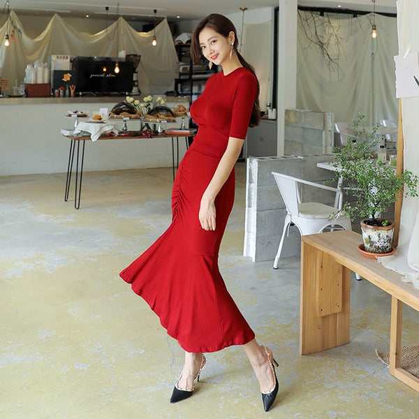 Women Skirt O-Neck Dress