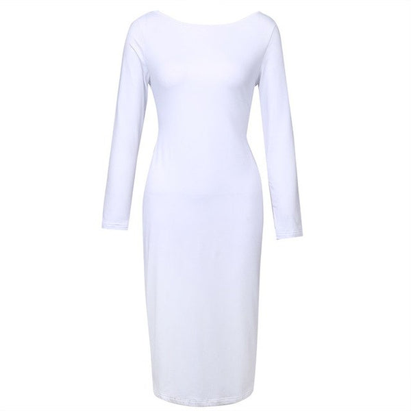 Fashion Sexy ladies Backless Criss-Cross Long Sleeve Stretch Bandage Bodycon Dress