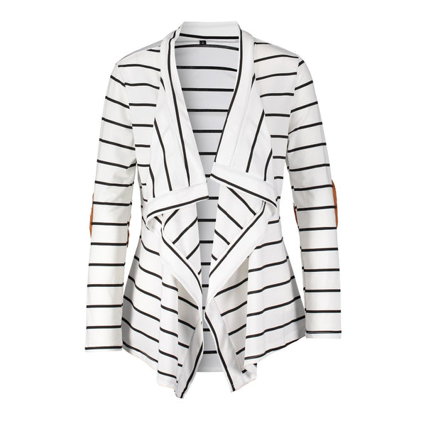 Women Black White Striped Patchwork Cardigan Sweater