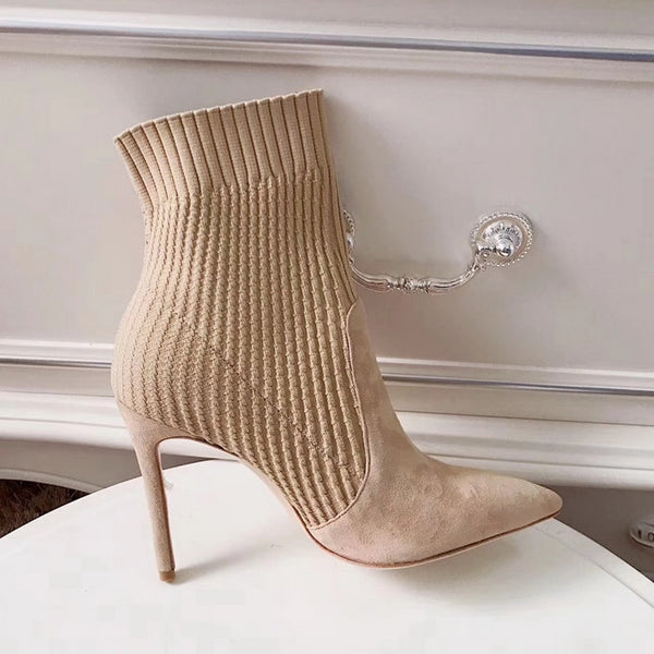 Women Knitted Sock Stiletto High Heels Ankle Boots