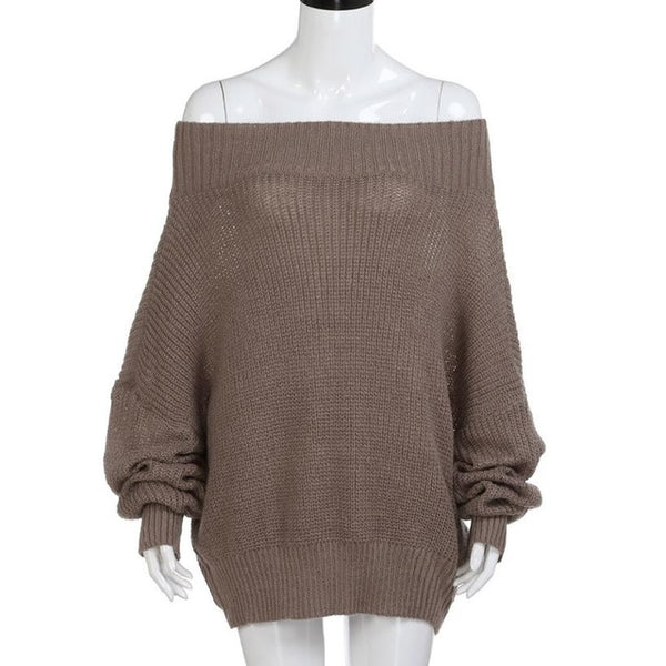Women's Sweater Off Shoulder Long Sleeve Loose Pullover Fit Knit Sweater Pullover Top