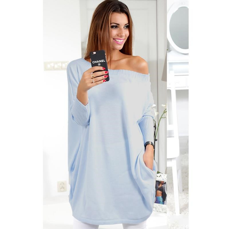 c8e76ec324ea1 Long Knitted Pullover Women Sexy Off Shoulder Oversized Casual Batwing  Sleeve Loose Jumper Sweater Top – Essish