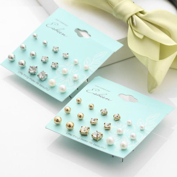 Crystal Simulated Pearl Stud Earrings 18pcs/Set Shiny Lots of Earrings Jewelry For Women Girls