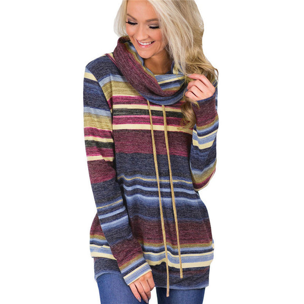 Women Autumn Winter Casual Long Sleeve Striped Patchwork Color Block Lace Up Pullover Sweater