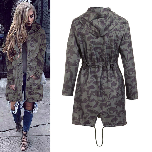 Boyfriend Women's Hooded Windbreaker Camouflage Outwear  Long Coat Jacket