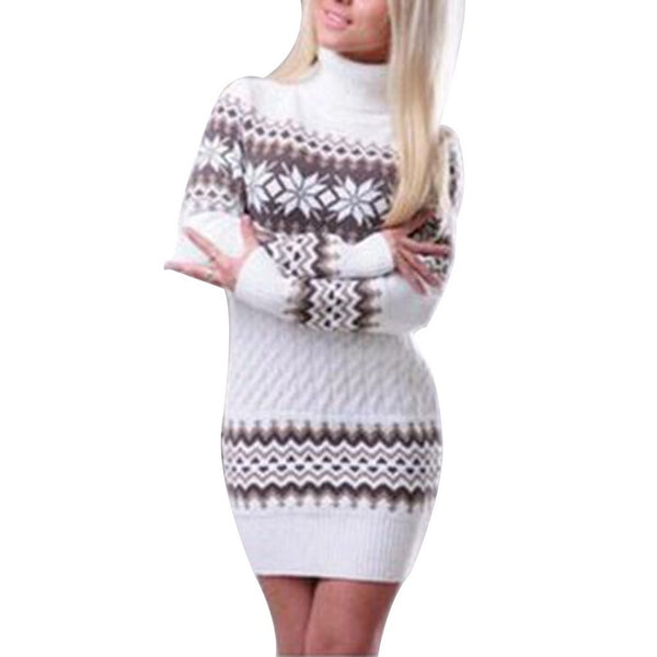Autumn Winter Women Long Sleeve Snowflake Turtleneck Pullover Sweater Dress