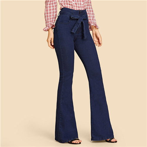 Denim Vintage High Tie Waist Pants Belted Stretchy Trouser Jeans