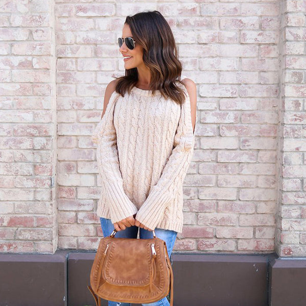 Autumn Women O-neck Long-sleeved Knitted Jumper Crocheted Twist Off Shoulder Pullovers Sweater