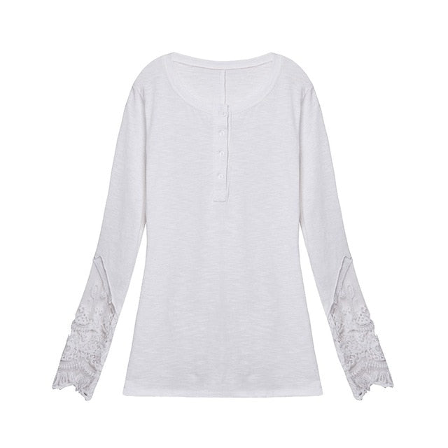 Casual Long Sleeve Lace Patchwork  O-Neck Blouse Tops