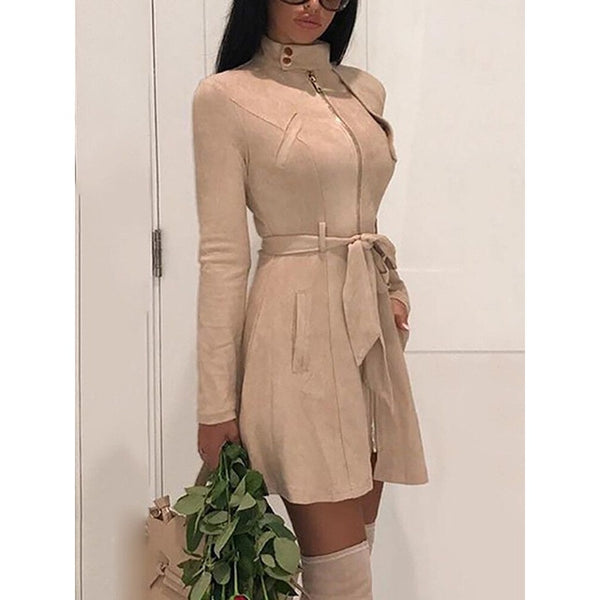 Autumn Women Sash Suede Trench Style Casual Leather Pocket Long Women  Warm Cardigan Sweater Dress