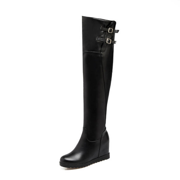 Round Toe Autumn Winter Women Zipper With Buckle Over The Knee Wedge Boots
