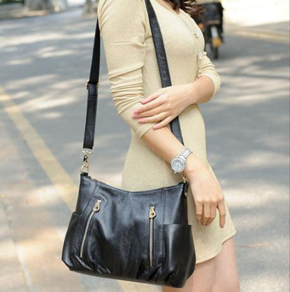 Oblique Leather Zipper Messenger Handbag