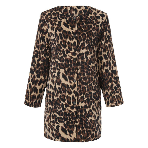 Women Leopard Sexy Warm Cardigan Leopard Print Long Coat