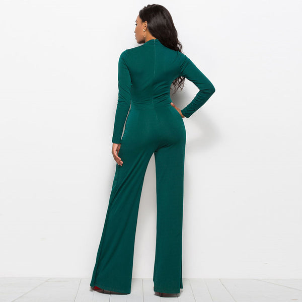 Women's O Neck Long Sleeve Elegant Wide-leg Romper Bodysuit Jumpsuit