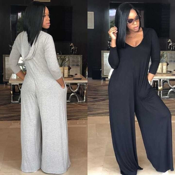 Women Wide Legged Hooded Full Sleeve Loose Chiffon Jumpsuit Romper With Pockets