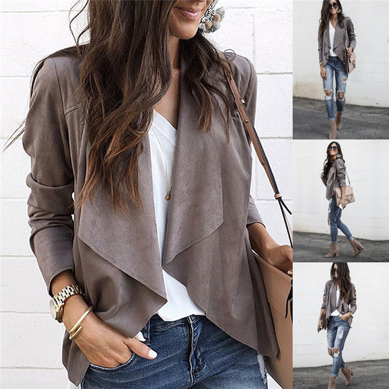 Women's Long Sleeve Lapel Coat Solid Simple Ladies Slim Casual Fashion Suit Cardigan Jacket Outwear
