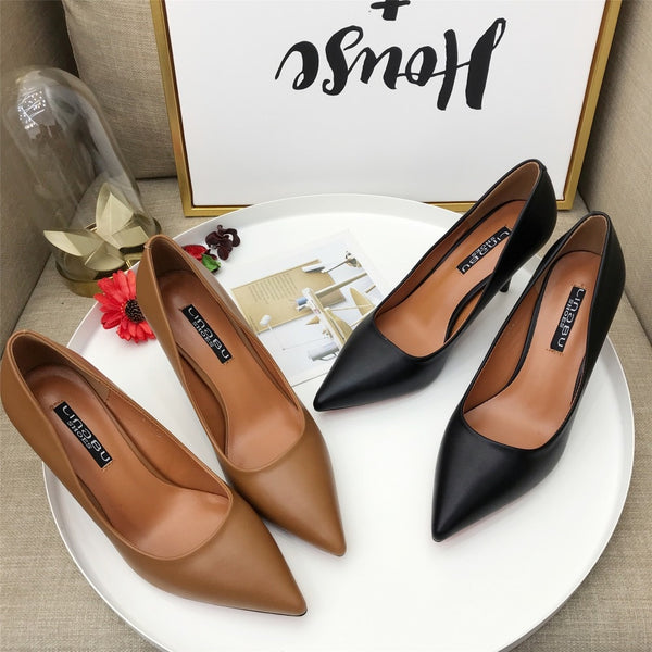 Fashion PU Leather High Heels Women Pumps Pointed Toe Women Stiletto Pump Shoes