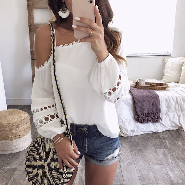 White Open Shoulder Spaghetti Strap Shirt Blouses