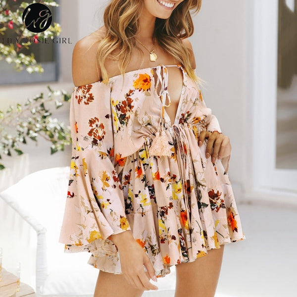 Off Shoulder Sexy Play Flare Sleeve Casual Lace Up Romper Jumpsuits