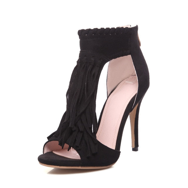 Women Fashion Tassel High Heel Sandal Shoes
