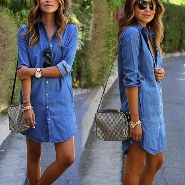 Casual Denim Dresses Pockets Elegant Cowboy Fashion Lady Slim Jean Shirt Dress