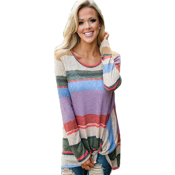 Women Round Neck Hot Rainbow Stripe Fashion Knotted Long Sleeve Shirt