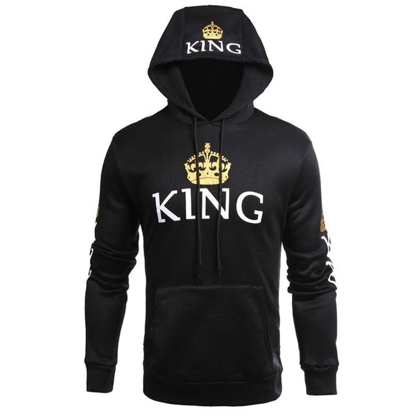 Men Women Lovers Hoodies Casual King Queen Crown Print Pocket Couple Warm Hooded Pullovers Sweatshirt