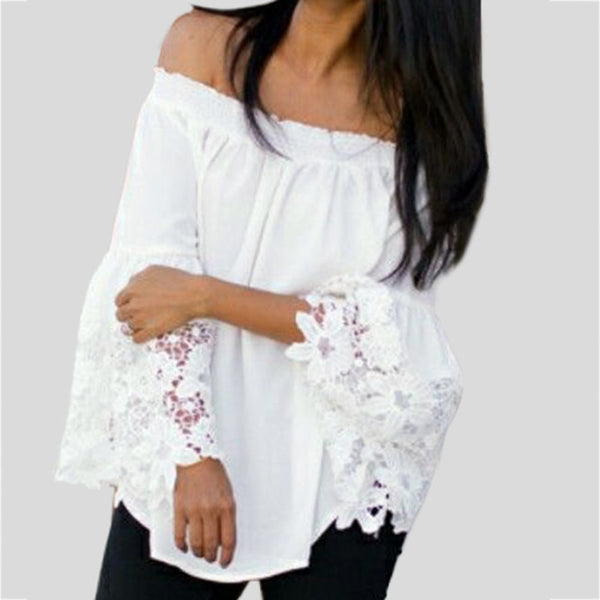 Womens White Lace Off Shoulder Long Sleeve Blouse