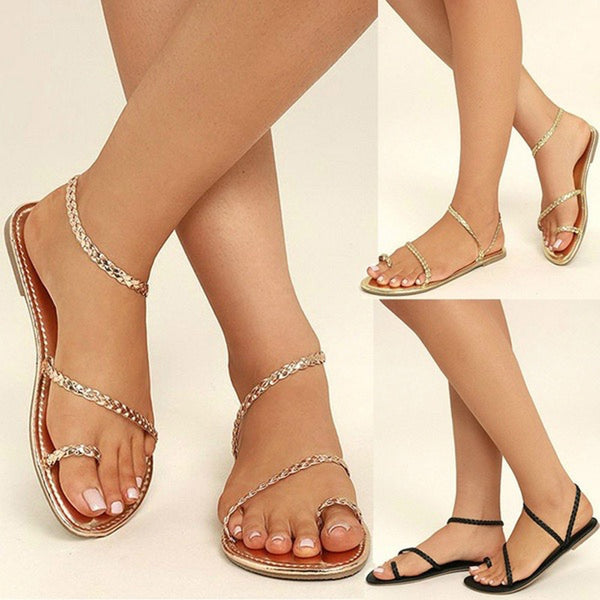 Women's Fashion Braided Gladiator Flat Flip Flop Sandal Shoes