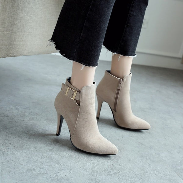 Ladies Ankle High Heel Buckle Boots