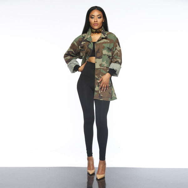 Army Camouflage Fashion Long Sleeve Casual Jacket