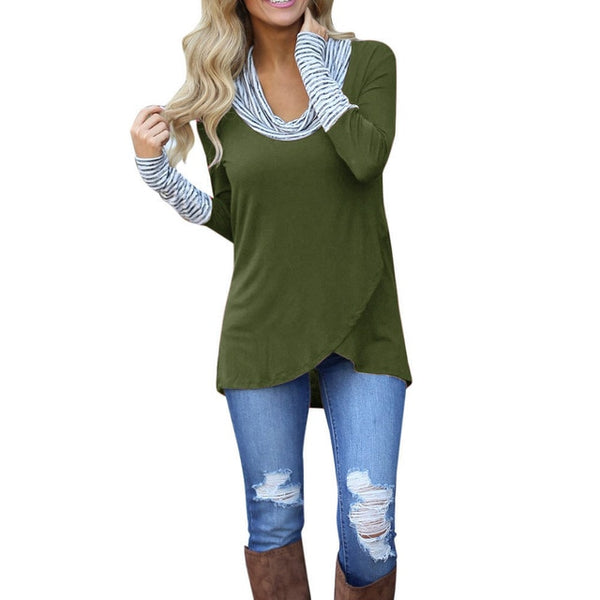 Women O-Neck Stripe Long Sleeve Casual Shirt