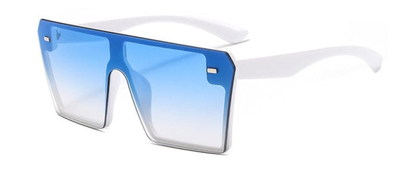Women Oversize Square Fashion Flat Top Gradient Sunglasses