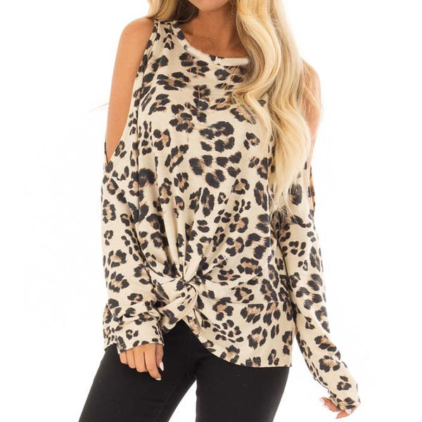 Women O-Neck Leopard Print Casual Top Tunic Blouse