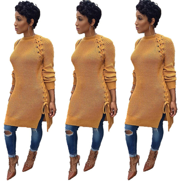 Women O Neck Long Sleeve Lace Up Sexy Sweater Dress