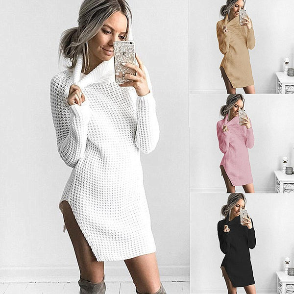 Women Autumn Knitted Elastic Turtleneck Long Sleeve Sexy Side Split Sweater Dress