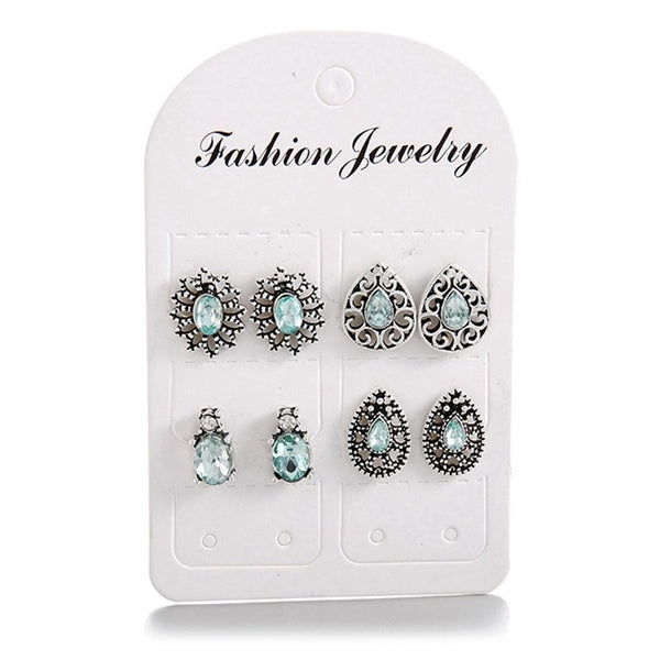 4 Pairs/Set Flower Stud Earrings