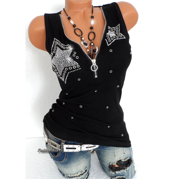 Women Star Beading Zipper V Neck Sleeveless Blouse Shirts