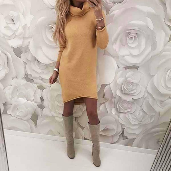 Women Elegant Solid Long Sleeve Winter Vintage Dress