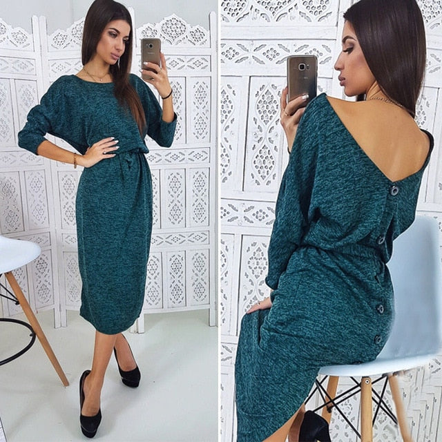 Women Sexy Backless Button O Neck Ladies Dress