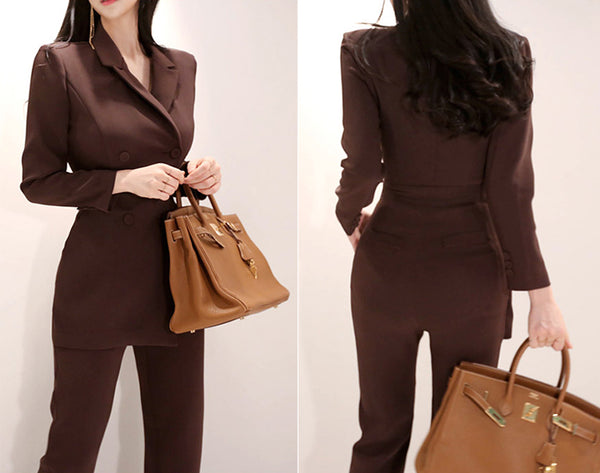 Ladies Double Breasted Ankle-length Pant Jumpsuits