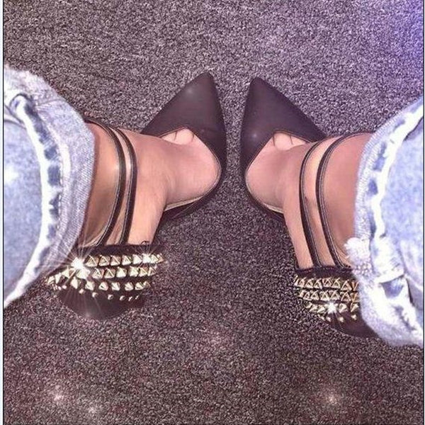 Sexy Rivet Decoration Pointed Toe Thin Heels Women Pumps Shoes