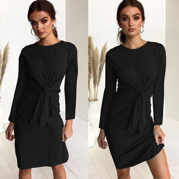 Women Bow Bandage Tunic O-neck Long Sleeve Solid Color Elegant Casual Dress
