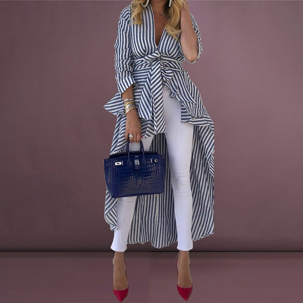 Women Fashion Elegant Asymmetrical Long Striped Blouse