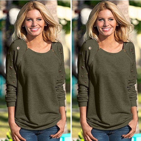 Women's Tops Round Neck Long Sleeve Shirt Fashion Sweater