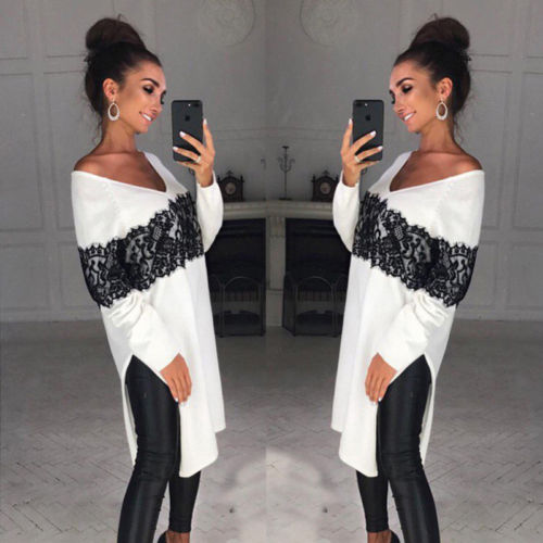 Ladies Women Long Sleeve Casual V-neck Asymmetric Loose Lace Top Blouse