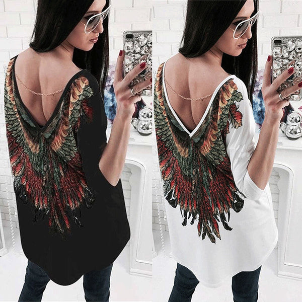 Womens Backless Loose Long Sleeve Cotton Casual Shirt Top Blouse